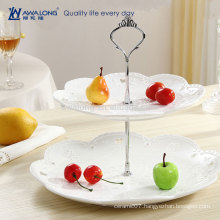 Western style Royal Pattern Pure White Fine Ceramic Round Wedding Two Layer Cake Plate, Crystal Cake Stand