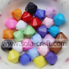 Wholesale Acrylic Solid Jewelry Bicone Beads/ Loose Plastic Beads For DIY Necklace/Bracelets/Earrings