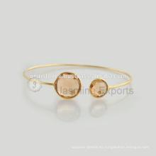 El oro hecho a mano de la plata esterlina 925 plateó las pulseras de la piedra preciosa al por mayor al por mayor de la joyería de las pulseras del bisel de la calidad
