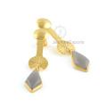 Серый Халцедон Серьги, 925 Серебро Драгоценных Камней Модные Серьги Ювелирных Изделий Для Подарка На День Рождения
