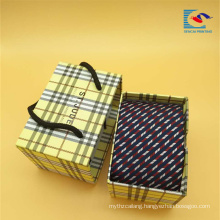 Custom Luxury portable drawer sliding gift tie packaging boxes with handle