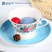 Große Kapazität Bone China Kaffeetasse und Untertasse Keramik Teetassen