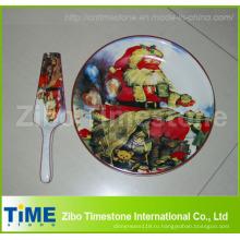 Керамическая тарелка для торта с сервера Рождественский дизайн (32016)