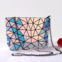 Factory Wholesale Hologram Tote Purse Chain Strap Geometric Luminous Shoulder women Bags Handbag Purse for Woman Girl