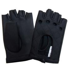 Luvas de condução de couro genuíno sem dedos moda masculina (yky5026)