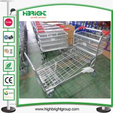 Chariot de cargaison d'entrepôt de plate-forme en métal de supermarché