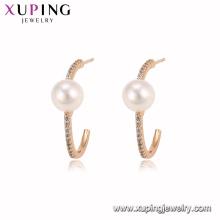 94941 Nouvelle mode 18K or couleur perle hoop boucle d'oreille noble bijoux élégants pour les dames