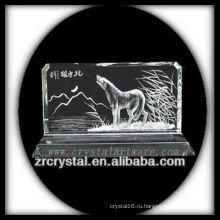 Ручной работы Кристалл K9 Инталия с волком