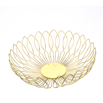 Metal Fruit Basket Round Storage Baskets Fruit Households Fashion Fruit Bowl Decorate Living Room Kitchen Countertop