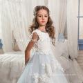 2017 Красивый Белый И Светло-Голубой Платье Тюль Кружева Принцесса Девушки Цветочные Узоры Платье Бесплатная