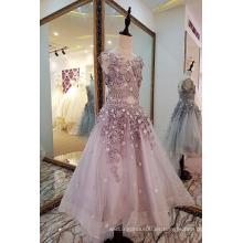 LS0033 O-cuello V-back cintura natural apliques de perlas organza suzhou el vestido de niña más hermosa flor