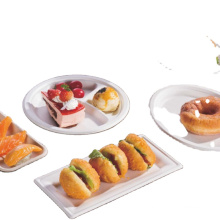 disposable biodegradable food tray dishes sugarcan cake plate for children birthday party