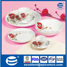 embossed feel decal decorated round porcelain floral dinner set 42 pcs with color box packing