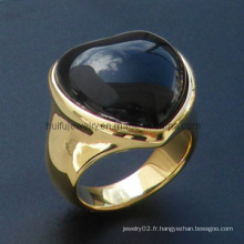 Pierre de coupe et anneau en acier doré en forme de coeur DIP