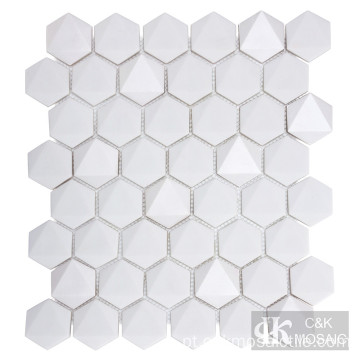 Backsplash de telha de vidro hexagonal