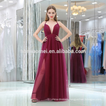 Elegant dark red deep v-neck spaghetti strap sexy ladies western wear evening dresses with high slipt