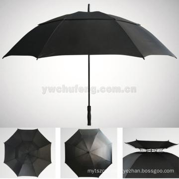 100% complete fiber LOGO customized wholesale real double layers windproof golf umbrella