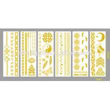 2016 new fashion temporary water transfer printing shining gold metal tattoo sticker paste for body