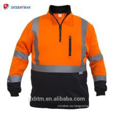 Sudadera de seguridad al por mayor Naranja Hi Vis Chaqueta reflectante Jersey Cremallera ANSI Clase 3 jersey de alta visibilidad para el trabajo nocturno