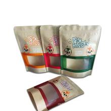Snack Food Packaging Bag Cartoon With Transparent Window Kraft Paper Printing Bag