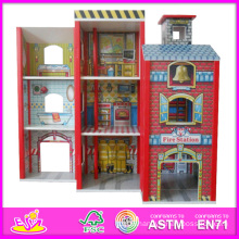 2014 Fashion New Wooden Dollhouse Model Toy, Wholesale DIY Wooden Dollhouse Toy, 3D Colorful Baby Wooden Dollhouse Set Factory W06A049