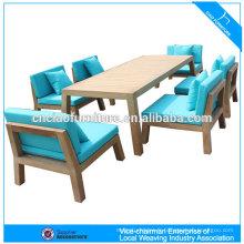 Salle à manger en plein air ensemble de meubles en bois de teck avec coussin