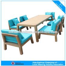 Outdoor dining set teak wood furniture with cushion