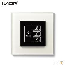 Panel táctil con interruptor de iluminación de 3 pandillas con marco de cristal maestro de control (HR1000-GL-L3M)