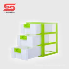 Recipiente de armazenamento plástico da gaveta do armário do tabletop de 3 camadas para o agregado familiar
