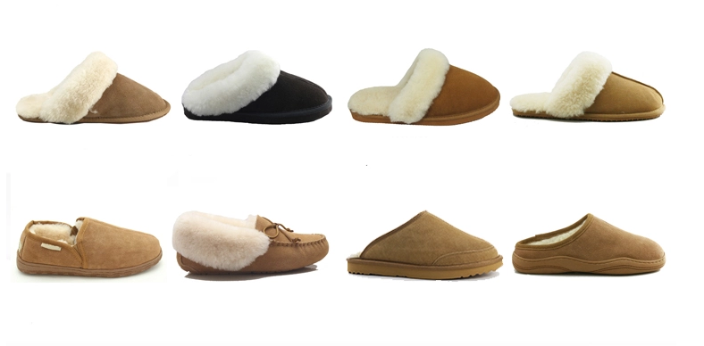 Handmade men's sheepskin slippers