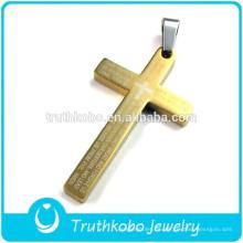 2012 venta al por mayor barato 22k para hombre de oro de vacío chapado 316 de acero inoxidable de alta calidad Western Cross colgante