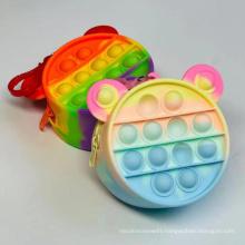 Design Decompression Bubble Push Fidget Sensory Toy Pop Game Toys Rainbow Silicone Keychain Bags Purse Case