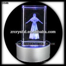 3d Laser Engraved Crystal cube with LED base