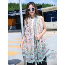 Lady Fashion Printed Polyester Artificial Silk Spring Scarf (YKY1116)