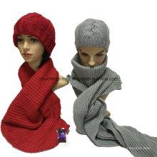 Acrílico tricô luva cachecol chapéu conjuntos para o inverno