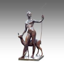 Gran Figura Estatua Gilr Deer Decoración Bronce Escultura Tpls-029