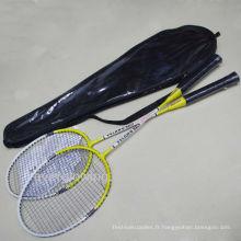 2015 nouvelle arrivée chaude vente wholrsale mode fer jaune et blanc en noir sac de PVC XL718 spécialisé OEM de raquette de badminton