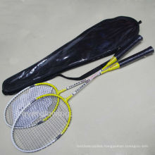2015 New Arrive Hot Sell Wholrsale Fashion Iron Yellow And White In Black PVC Bag XL718 Specialized Badminton Racket OEM