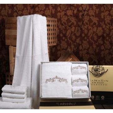 Canasin 5 estrelas Hotel luxo de toalhas 100% algodão branco bordado