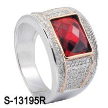 Factory Dernier modèle 925 Silver Man Ring avec CZ Stone (S-13195R)