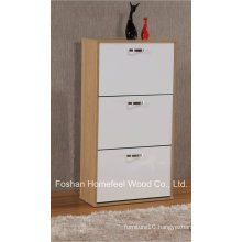 Home Furniture Glossy Wooden 3 Rotating Drawers Shoe Cabinet (XE31)