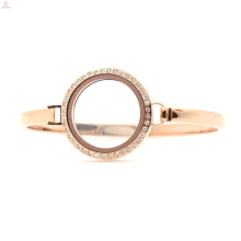 Günstige 30mm 7 '' - 8 '' Rose Gold Edelstahl Schwimm Medaillon Uhr, Rotgold Manschette Armband