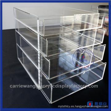 China Fábrica de acrílico hecho a mano 4 cajones de maquillaje / Organizador de maquillaje de acrílico con cajones