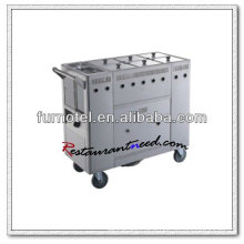 S102 6-Tank Gas Stainless Steel Kitchen Trolley