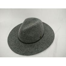 Модная шерстяная войлочная шляпа Fedora с тонкой ручной кожанной стрингой (F-070004)