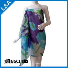 Poliéster algodón voile azul impreso bufanda para las mujeres