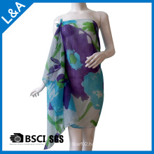 Polyester Cotton Voile Blue Printed Scarf for Women
