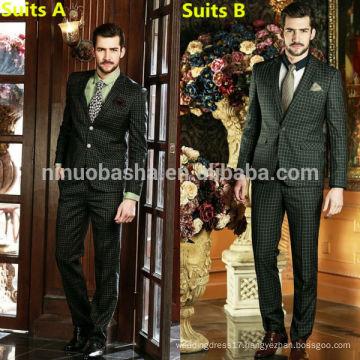 High-Class Business Men's Suits 2014 Impressed Glen Check Long Sleeve Wedding Dress Suits For Men NB0562