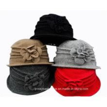 Tricotado Flor Mulheres Vestido Igreja Lã Balde Hat