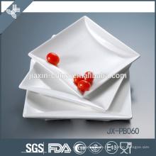quadratische weiße Porzellan-Abendessenpastete, Pizzaplatte, tiefe Platte des Porzellans